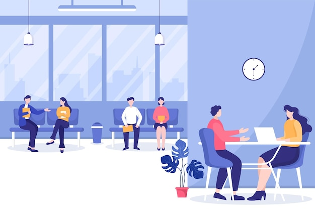 Sollicitatiegesprek, kandidaat en hr manager. idee van werkgelegenheid en huren, zakenman of vrouw aan tafel, vectorillustratie voor gesprek, carrière, human resource concept