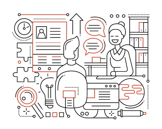 Sollicitatiegesprek - moderne, eenvoudige lijnsamenstelling met recruiter en kandidaat