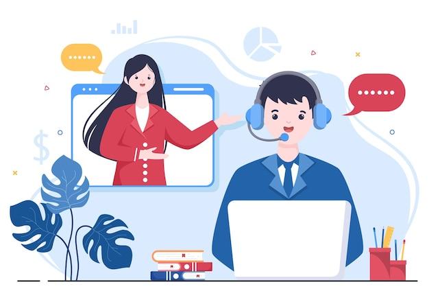 Sollicitatiegesprek online service of platform, kandidaat en hr manager. zakelijke man of vrouw aan tafel, vectorillustratie voor gesprek, carrière, human resource concept