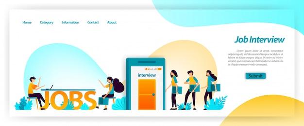 Sollicitatiegesprek toepassing bij het verkrijgen van de beste jonge werknemers voor het team van het bedrijf. medewerkers vinden, vinden en werven en aannemen. websjabloon bestemmingspagina