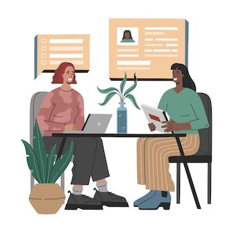 Sollicitatiegesprek, twee vrouwen hebben gesprek, recruiter met kandidaat voor een vacature.