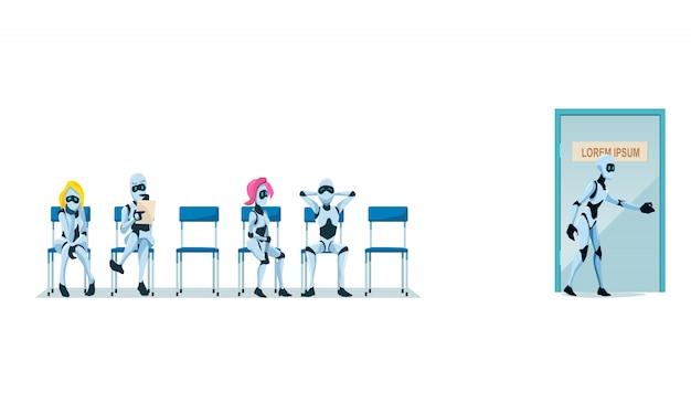Sollicitatiegesprek werven en robots. vector.