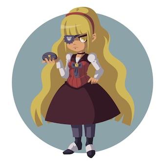 Somber blond meisje in een retro pak. vrouw in steampunk pak.