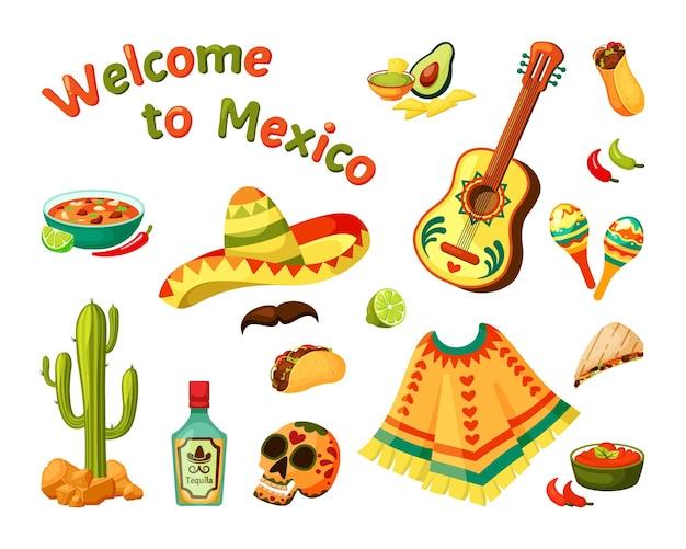 Sombrero en gitaar met etnische afbeelding