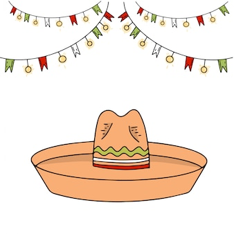 Sombrero en vlaggen cinco de mayo