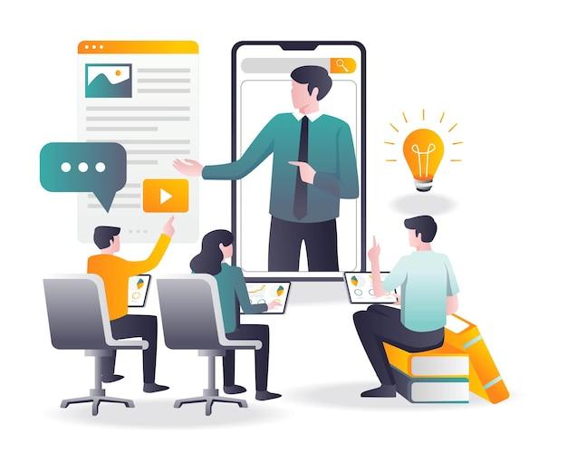 Sommige studenten studeren online met de leraar