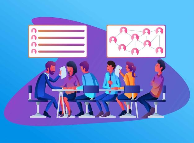 Sommige werknemers in een vergadering bespreken de structuur en functie van human resources in het bedrijf, vlakke afbeelding