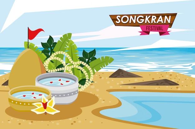 Songkran feest met schotel kom op het strand