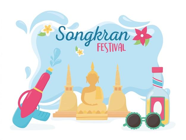 Songkran festival boeddha waterkanon fles zonnebril viering