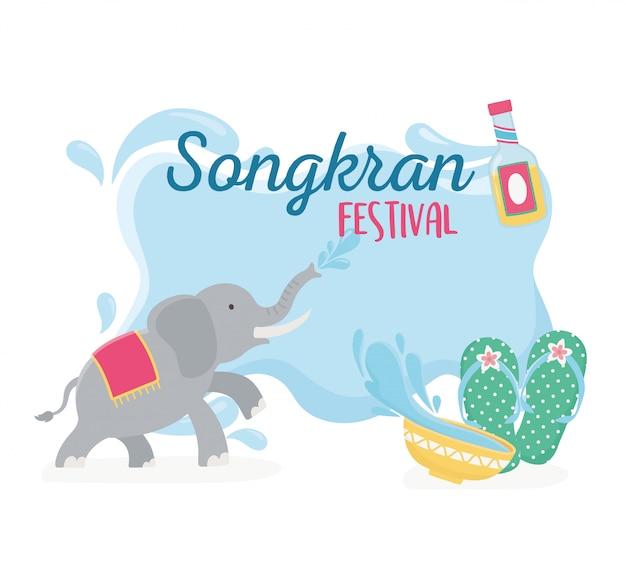 Songkran festival olifant sandalen en kom met water