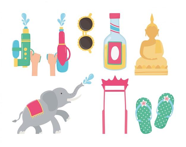 Songkran festival olifant zonnebril boeddha sandalen fles pictogrammen