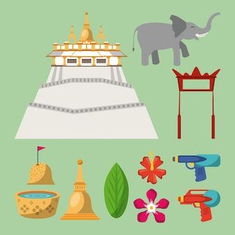 Songkran festival pictogrammen
