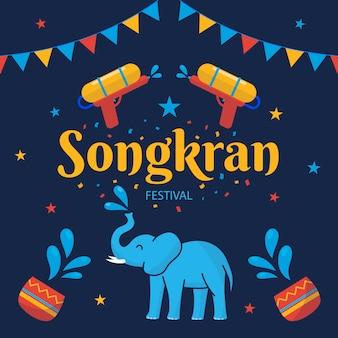 Songkran-viering in vlakke stijl