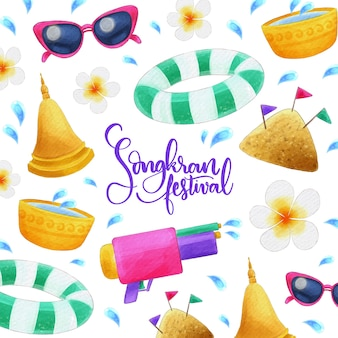 Songkran-viering met waterverfontwerp