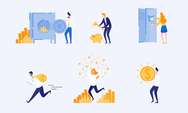 Soorten accumulatie en opslag van geld. vector.