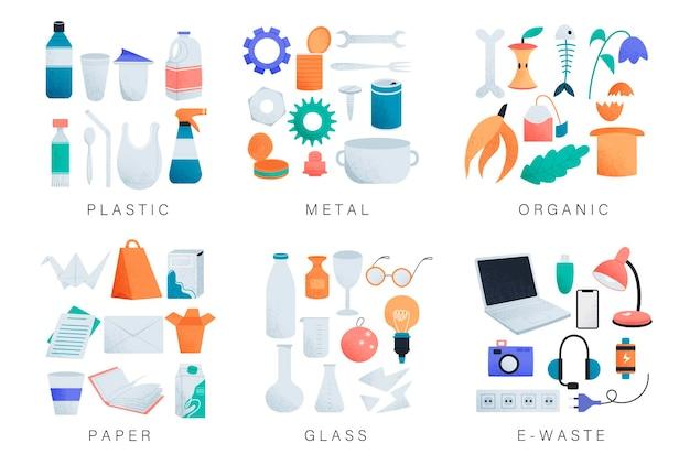 Soorten afval sorteren cartoon set