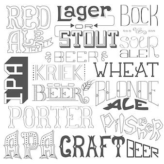 Soorten bier. hand getrokken belettering voor bar, pub, café, fest en feest.