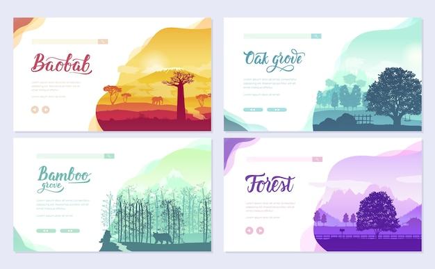 Soorten bomen van over de hele wereld. prachtige parken van over de hele wereld.