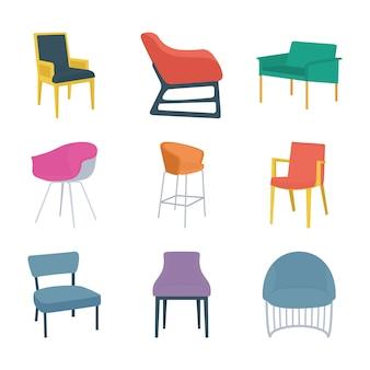 Soorten stoelen vlakke pictogrammen