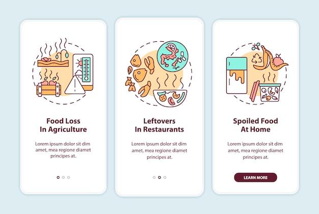 Soorten voedselverspilling onboarding mobiele app-paginascherm met concepten. voedselverlies in de landbouw, restjes walkthrough 3 stappen ui-sjabloon met rgb-kleurenillustraties