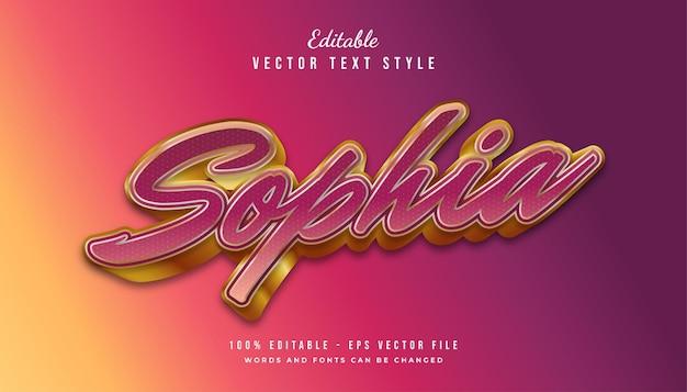Sophia-tekststijleffect met kleurrijke verlopen en gouden compositie. bewerkbaar tekststijleffect