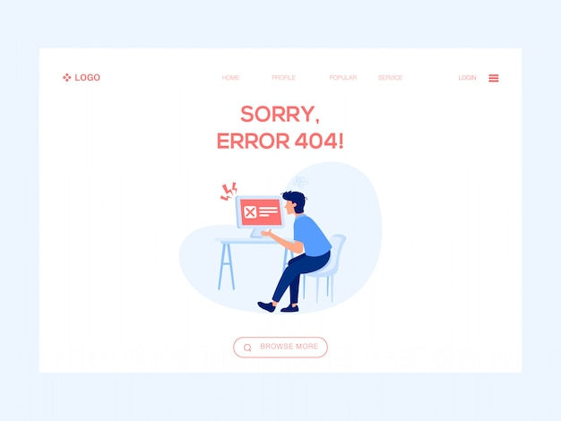 Sorry fout 404 web illustratie