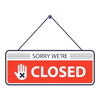 Sorry, gesloten. er hangt een bord aan de deur van de winkel. illustratie op witte achtergrond.