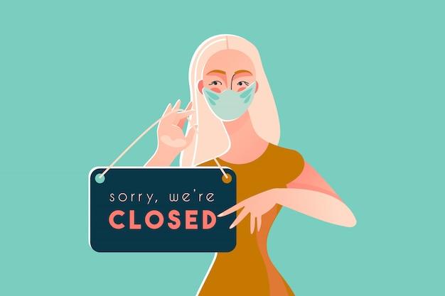 Sorry, we zijn gesloten covid-19-quarantaine van de ziekte van coronavirus 2019