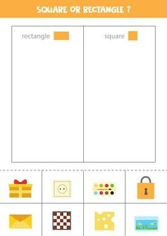 Sorteer afbeeldingen op vorm. rechthoekig of vierkant. educatief spel voor kinderen.