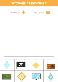 Sorteer afbeeldingen op vorm. ruit of rechthoek. educatief spel voor kinderen.