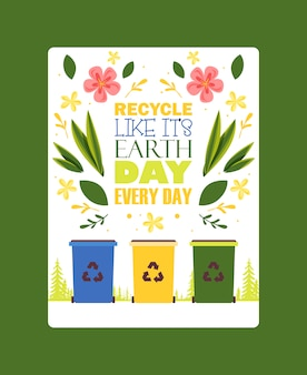 Sorteer afval motivatie poster verschillende sorteer prullenbakken