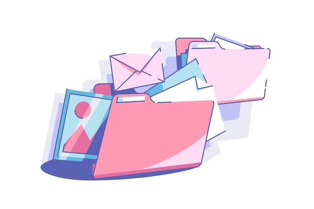 Sorteer bestanden naar mappen vector illustratie kleurrijke enveloppen en mappen in puinhoop vlakke stijl ruimte organiseren en beheer concept geïsoleerd