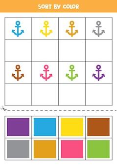 Sorteer op kleur. cartoon kleurrijke anker. basiskleuren leren voor kinderen.
