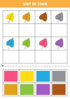 Sorteer op kleur. cartoon kleurrijke bladeren. basiskleuren leren voor kinderen.