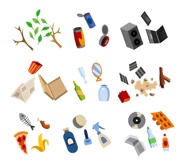 Sorteren van afval. veel gesorteerde recyclingelementen. scheiding van afval vóór vuilnisbak. afvalbeheerconcept