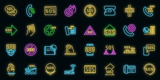Sos pictogrammen instellen. overzicht set van sos vector iconen neon kleur op zwart