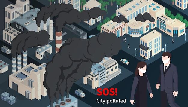 Sos-stad vervuild. besmettingsconcept