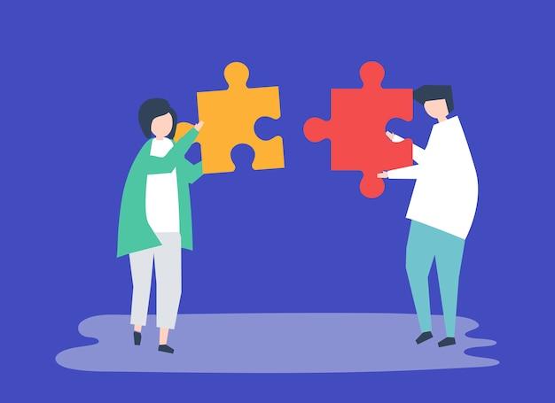 Soulmates die puzzelstukjes aan elkaar verbinden