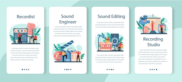 Sound engineer mobiele applicatie banner set