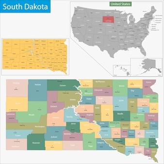 South dakota kaart Premium Vector