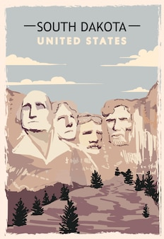 South dakota retro poster. usa south-dakota reizen illustratie. verenigde staten van amerika