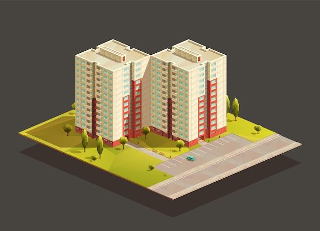 Sovjet-toren tweeling flatgebouw isometrische realistische afbeelding