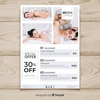 Spa brochure sjabloon met foto Premium Vector