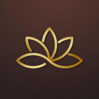 Spa business logo vector gouden lotus pictogram ontwerp