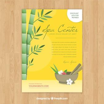 Spa center flyer sjabloon in platte ontwerp