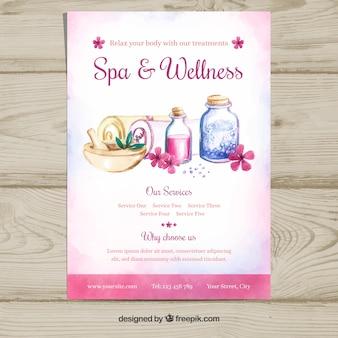 Spa center flyer sjabloon met producten