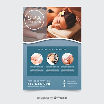 Spa concept flyer sjabloon met afbeelding
