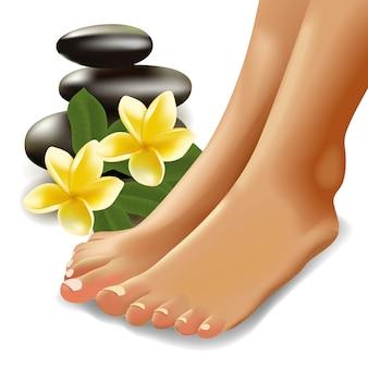 Spa-concept met realistische vrouwelijke voeten, frangipani en stenen. illustratie.