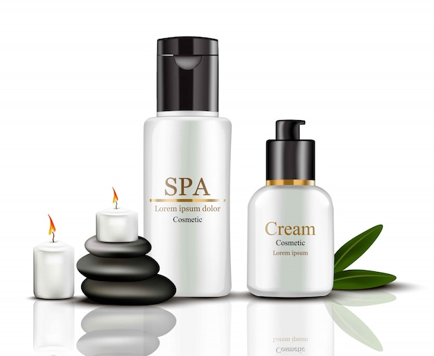 Spa cream cosmetics set collectie realistische mock up. hydratatiecrème met logo's