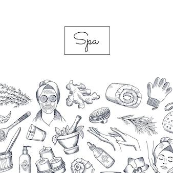 Spa-elementen met schets stijl